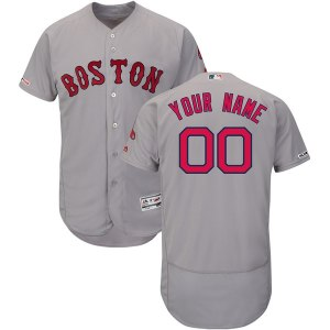 35119409f Men's Boston Red Sox Majestic Road Gray Flex Base Authentic Collection Custom  Jersey