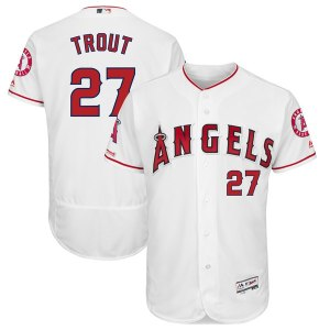 Men's Los Angeles Angels Mike Trout Majestic Home White Flex Base Authentic Collection Player Jersey