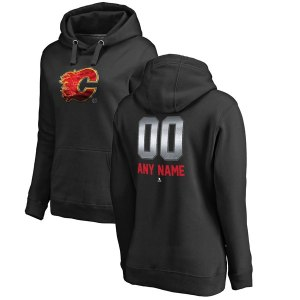 Women's Calgary Flames Fanatics Branded Black Personalized Midnight Mascot Pullover Hoodie