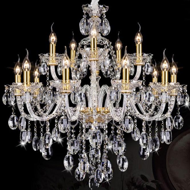 15 Lights Italian Antique Gold Candle Chandelier Led Light Clear Crystal Chandeliers El Villa Parlor