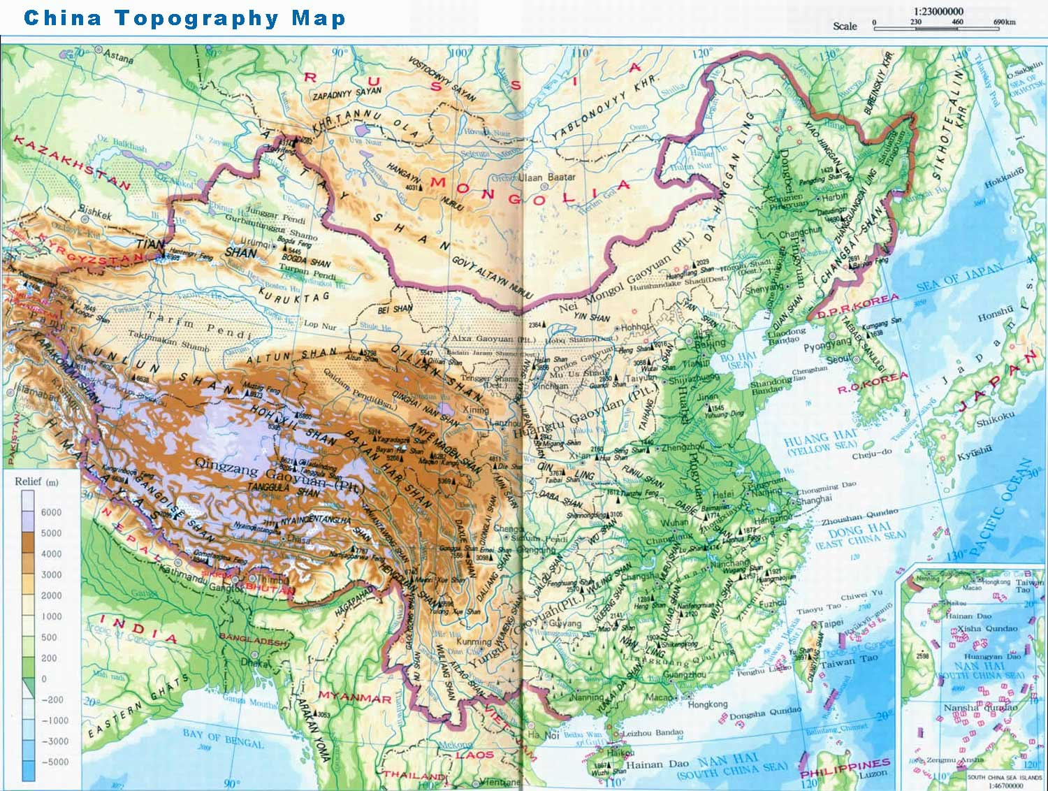 China Topography Map China Tour Background Information