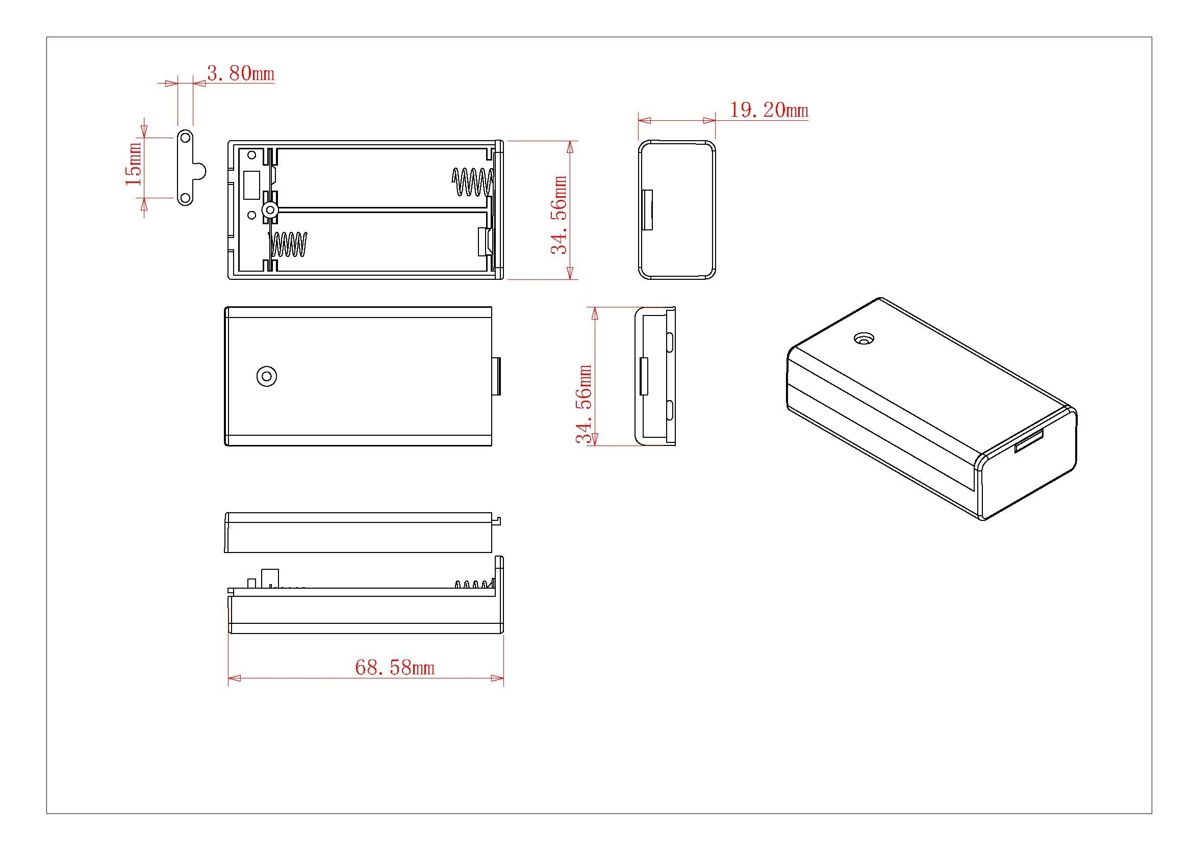 Battery Holder Bh5 2 Cell Aa With Cover And Switch