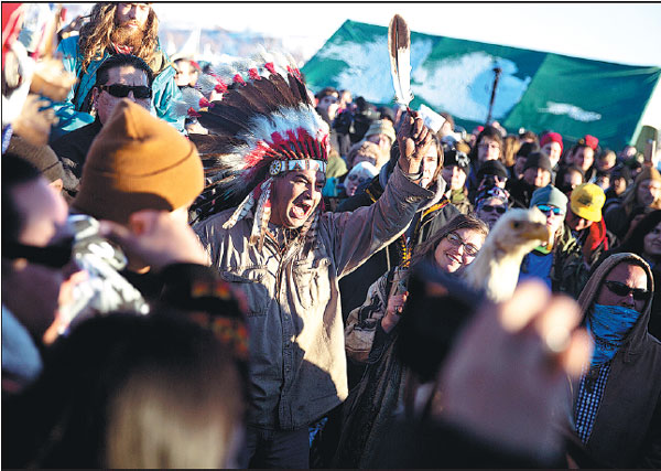 A Crowd Gathers In Celebration At The Oceti Sakowin Camp