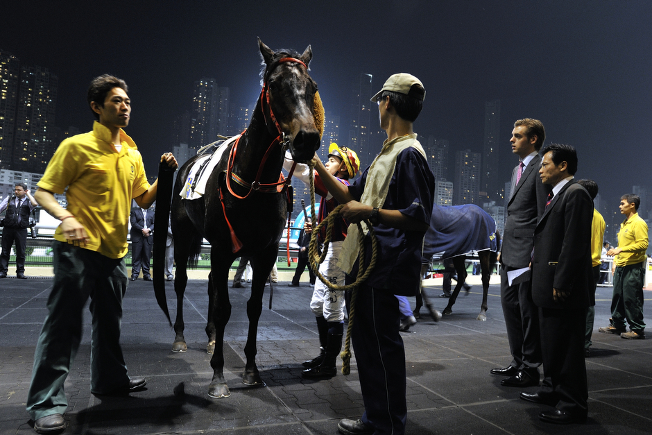 In the restricted section of the Happy Valley racetrack, Hong Kong Jockey Club members and horse owners can see the animals up close between races. The Jockey Club, along with being the city's center of gambling and society, is the largest single taxpayer and a major supporter of charity in Hong Kong.
