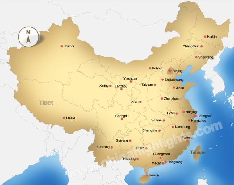 China Map  Maps of China s Top Regions  Chinese Cities and     Enlarge to see the map detail  2685x1633