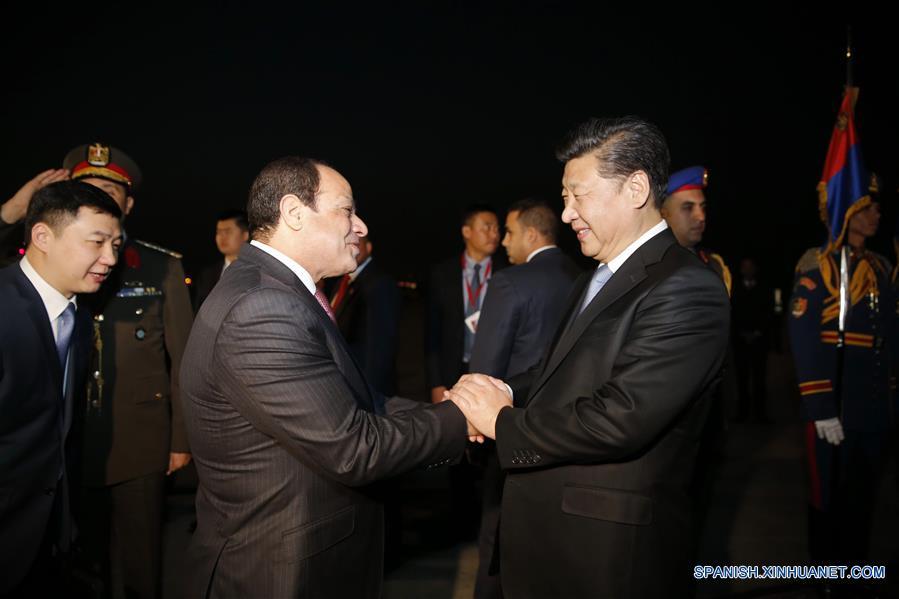 Presidente chino llega a Egipto para iniciar visita de Estado