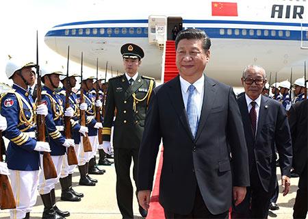 Presidente chino llega a Camboya para efectuar visita de Estado