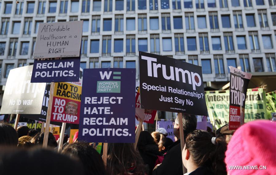Manifestantes marchan en Londres contra Trump