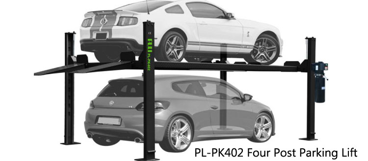 PL-PK402 Four Post Parking Lift 7,000-lb. Capacity Short Runways Extra-Wide, Extra-Tall Car Lift