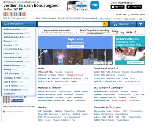 Screenshot van de website van MiniInTheBox