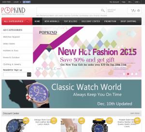 screenshot van de website van popkind