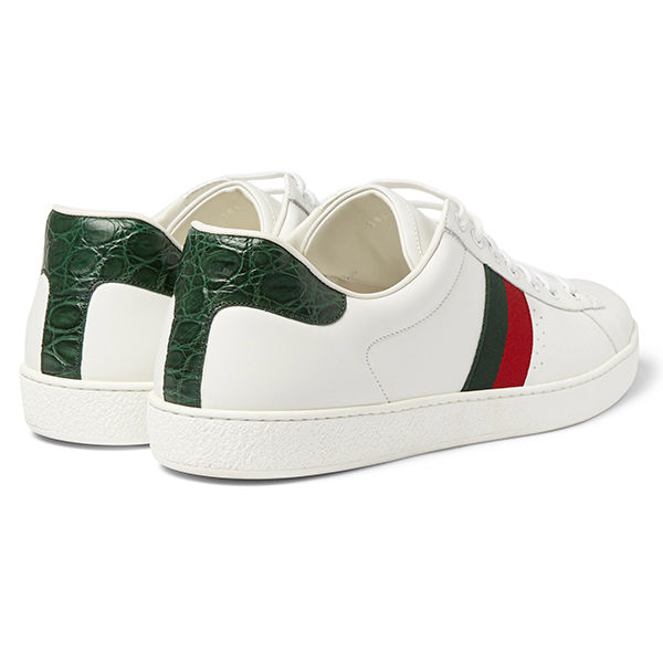 Men's White Low Top Sneakers (4)