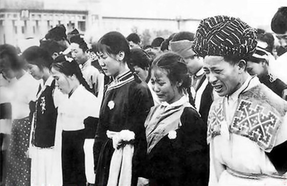 Ethnic minority representatives mourning the death of Mao Zedong in 1976.