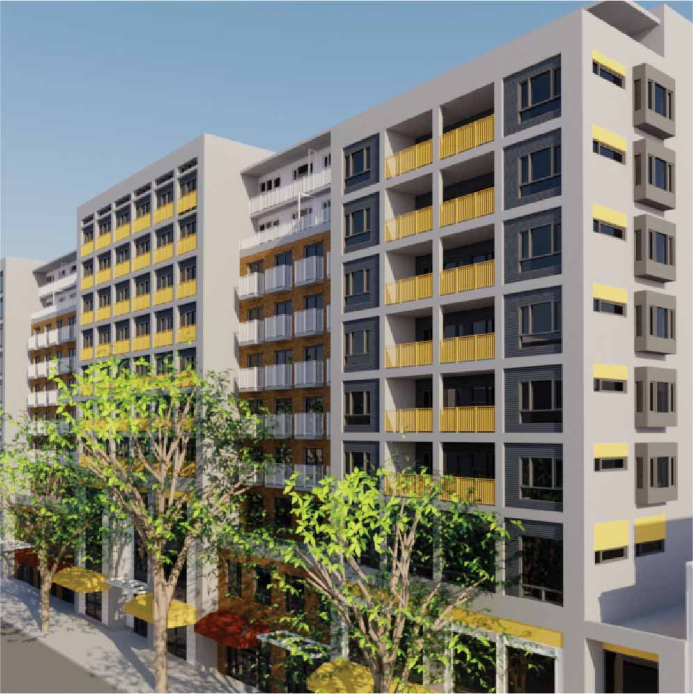A 3D rendering of a large condo building. There are trees on the side walk and the sky is blue.