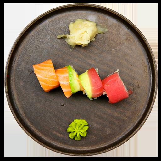 21. Rainbow - Med Surimi, agurk og avocado, toppet med laks, tun og avocado