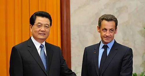 Les présidents Hu Jintao et Nicolas Sarkozy