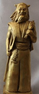 Chinese Bronze Carved Stand Master Zu Yandi Emperor Yan Di God Words Statue