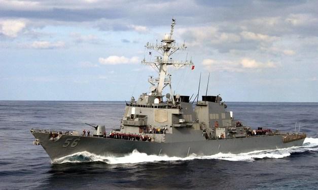 Un navire de guerre américain dans le détroit de Taïwan