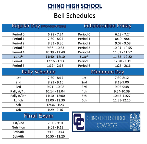 High School Lunch Schedule