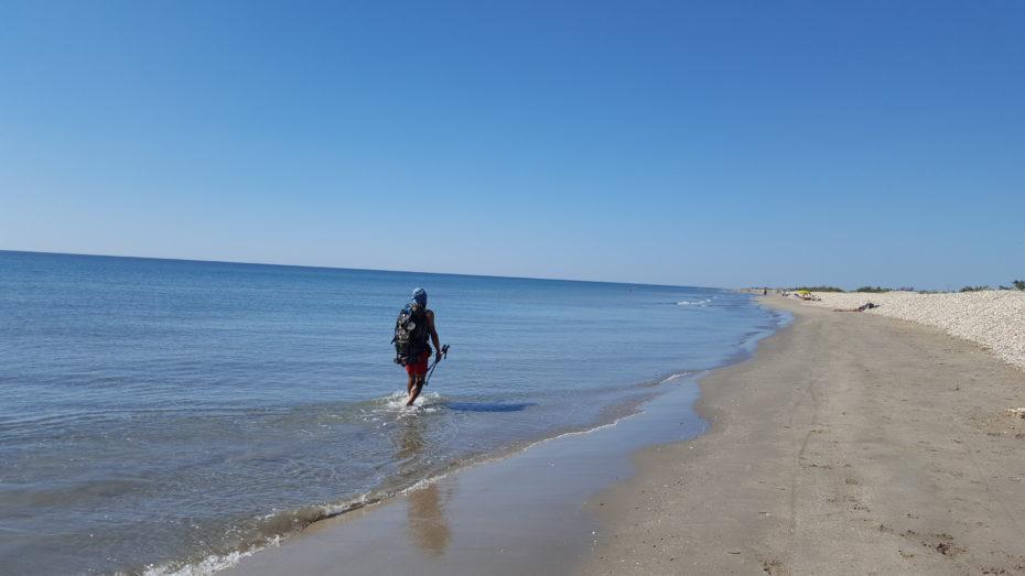 Tratto di mare tra Palavas les Flots e Sète, possiamo camminare nel mare