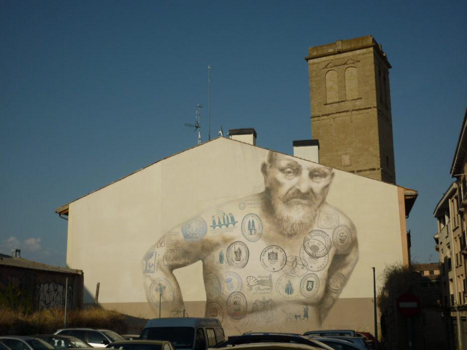 Questo murales è una delle tante opere che ci sono a Logroño: possiamo capire l'importanza del pellegrinaggio per questa città.