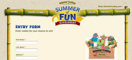 Oriental Trading Company - Summer of Fun Giveaway Sweepstakes