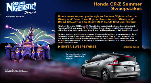 Win a trip to Disneyland from Honda - CR-Z Summer Sweepstakes