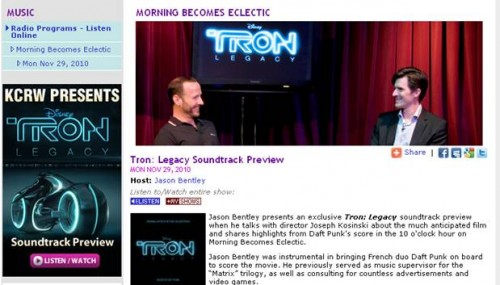TRON: Legacy Soundtrack Listening Preview with KCRW now available 1