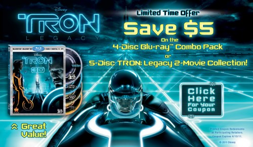 Save $5 on the 4-Disc or 5-Disc Tron Blu-ray Combo Pack! 1