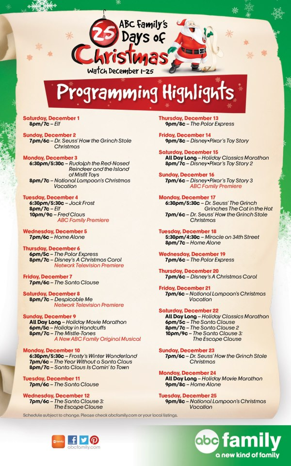 Abc 25 Days Of Christmas 2020 Schedule Abc Family 25 Days Of Christmas 2020 Printable Schedule | Rybwwc