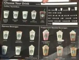 Downtown Disney Starbucks Drink Menu
