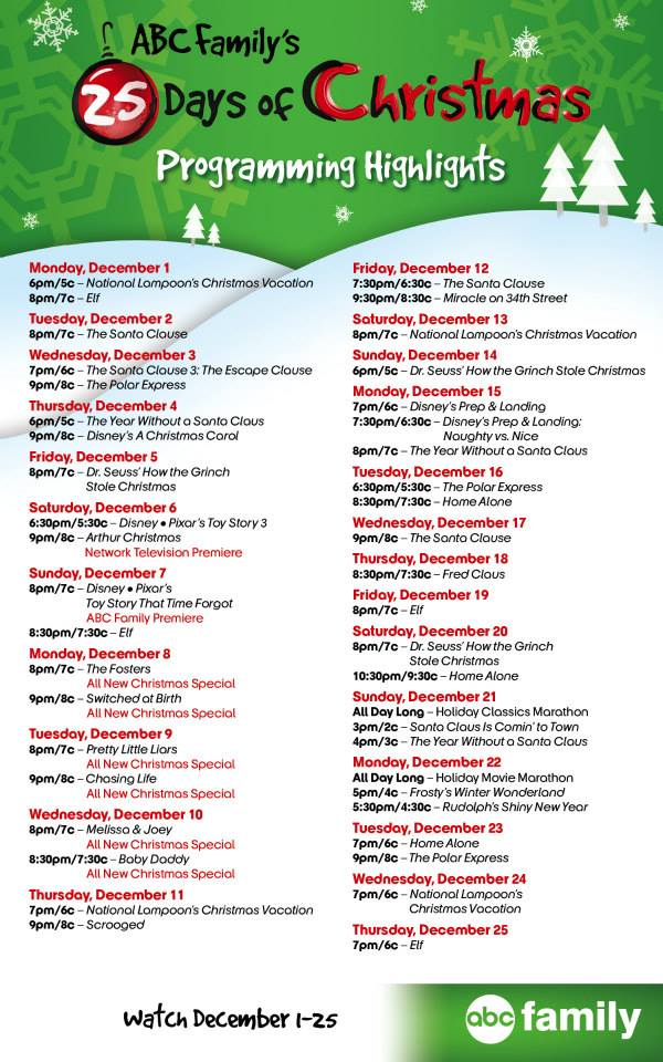 Abc Family 25 Days Of Christmas.Abc Family S 25 Days Of Christmas Full Schedule