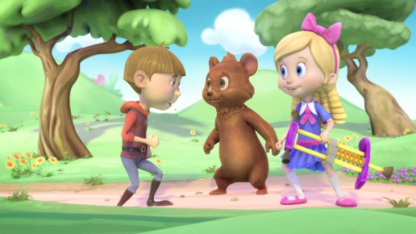 """GOLDIE & BEAR - """"Goldie & Bear,"""" a fairy tale-inspired adventure series for preschoolers premiering in Fall 2015, follows the fairytale adventures of newfound friends Goldie and Bear, following the renowned porridge incident of """"Goldilocks and The Three Bears."""" (Disney Junior) JACK, BEAR, GOLDIE"""