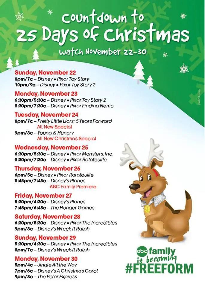 Abc Family 25 Days Of Christmas.Abc Family S Countdown To 25 Days Of Christmas To Celebrates