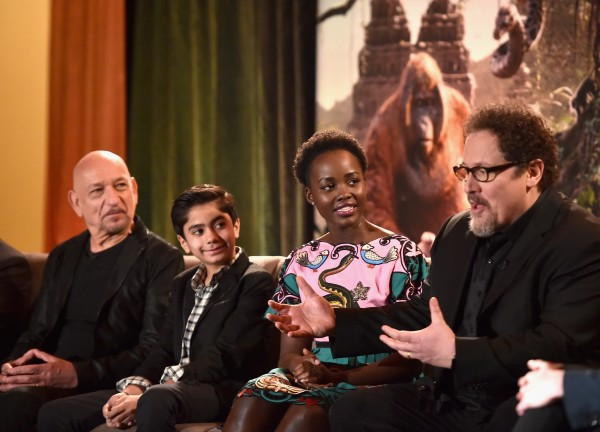 """LOS ANGELES, CALIFORNIA - APRIL 04: (L-R) Actors Sir Ben Kingsley, Neel Sethi, Lupita Nyong'o and director Jon Favreau onstage at Disney's """"THE JUNGLE BOOK"""" Press Conference at The Beverly Hilton on April 4, 2016 in Los Angeles, California. (Photo by Alberto E. Rodriguez/Getty Images for Disney) *** Local Caption *** Ben Kingsley;Neel Sethi;Lupita Nyong'o;Jon Favreau"""