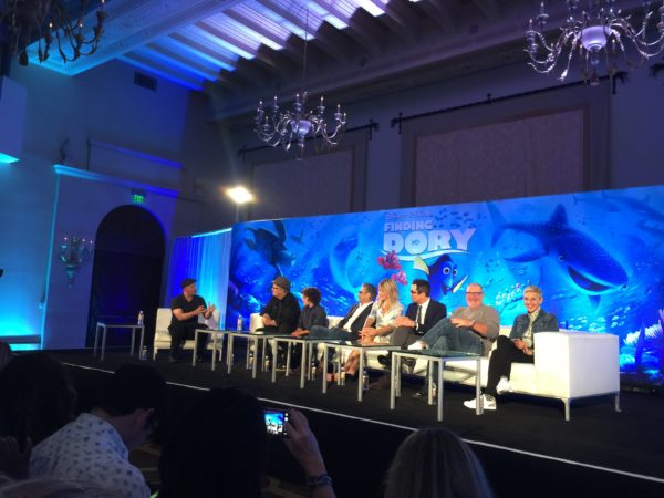 The cast at the Finding Dory Press Conference at the Montage Beverly Hills