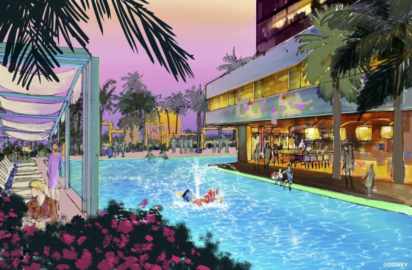 Concept art of one of the pool areas, two pool areas are proposed for the hotel.