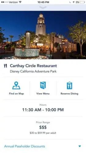 Image result for dining reservations disneyland app