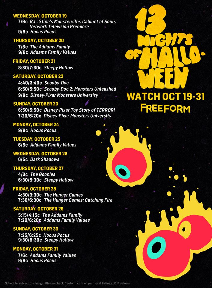 freeform scares up some fun with its annual 13 nights of halloween celebration featuring programming filled with thrills and chills as you count down to