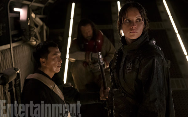 Rogue One: A Star Wars Story (2016) Donnie Yen (L) and Felicity Jones (R) Credit: Giles Keyte/© Lucasfilm LFL 2016
