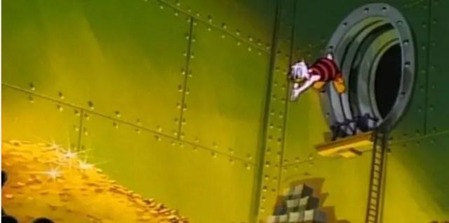 Scrooge McDuck Diving into Money Bin