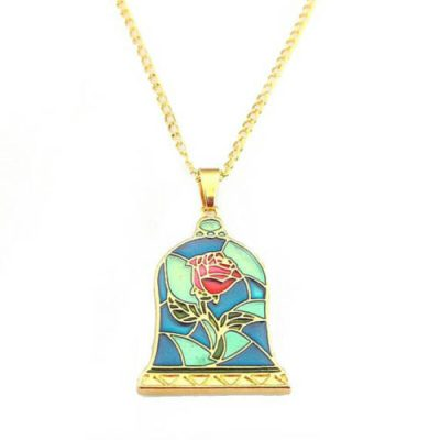 Beauty and the Beast Stained Glass Enchanted Rose Necklace 1