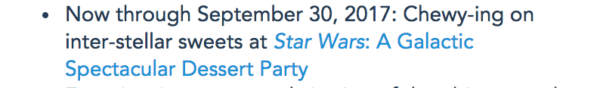 Dessert Party No Longer Included in Star Wars Guided Tour Beginning October 1 1
