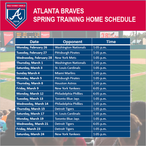 Atlanta Braves Spring Training Schedule 2019 Disney Releases Final Atlanta Braves Spring Training Schedule