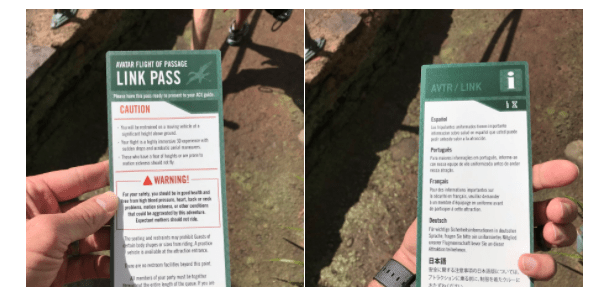New Warning Cards Are Being Given To Flight of Passage Riders 1