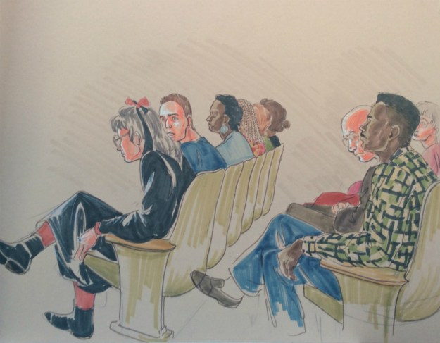 Rachel Ketchum courtroom drawing mid 1990s court audience