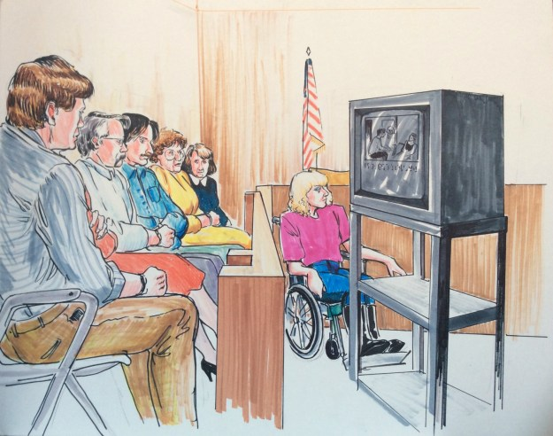 Rachel Ketchum courtroom drawing mid 1990s jury and monitor