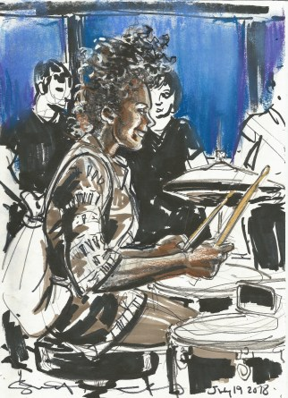 Second drummer at Bei Ruth drum jam July 19 2018 by Suzanne Forbes