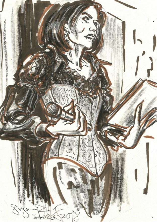 Marin van der Waa Narrates at Dr Sketchys Berlin by Suzanne Forbes sept 23 2018