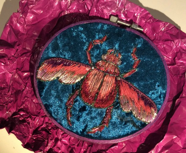 Pink embroidered beetle by Suzanne Forbes Dec 2018 2